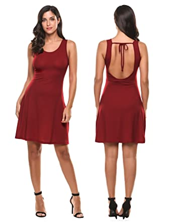 5520704b483 Meaneor Women s Sleeveless Casual Midi Dress Deep V Backless Sundress