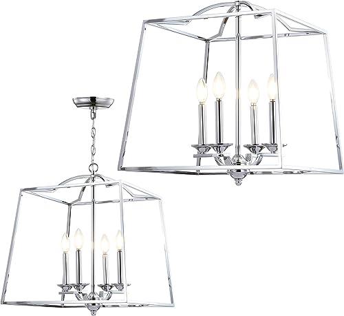 JONATHAN Y JYL7411A Gloria 19 4-Light Metal LED Pendant, Traditional, Classic for Kitchen, Living Room, 4 Bulb, Chrome