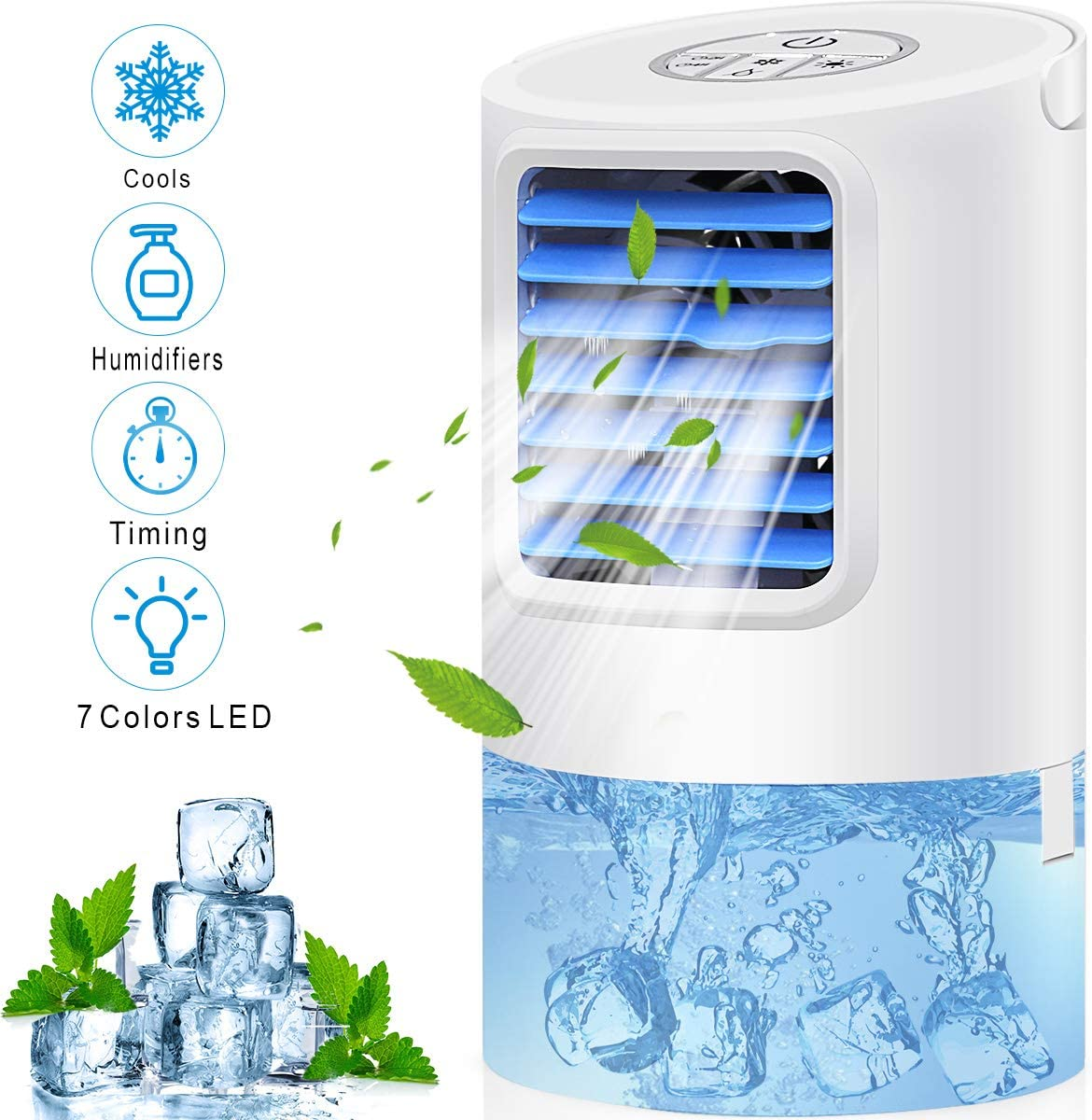 Humidifiers Air Conditioner Fan, Personal Desk Fan Space Air Cooler Mini Portable Table Evaporative AC Ultra-Quiet Purifier Cooling Fan with Handle and 7 Colors LED Lights for Home, Office, Dorm