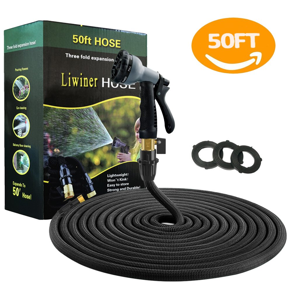 Liwiner Expandable Garden Water Hose Pipe 50 FT Flexible & Lightweight Retractable Hoses Pipes with 8 Function Spray Nozzle/Leakproof Brass Fittings/Anti-Burst Extra Strength Fabric Expanding Hose