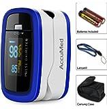 accumed® Finger pulsoximeter Oxymètre de pouls/Blood Oxygen SpO2 Moniteur w/Housse de transport, landyard Étui en silicone et batterie (Bleu)