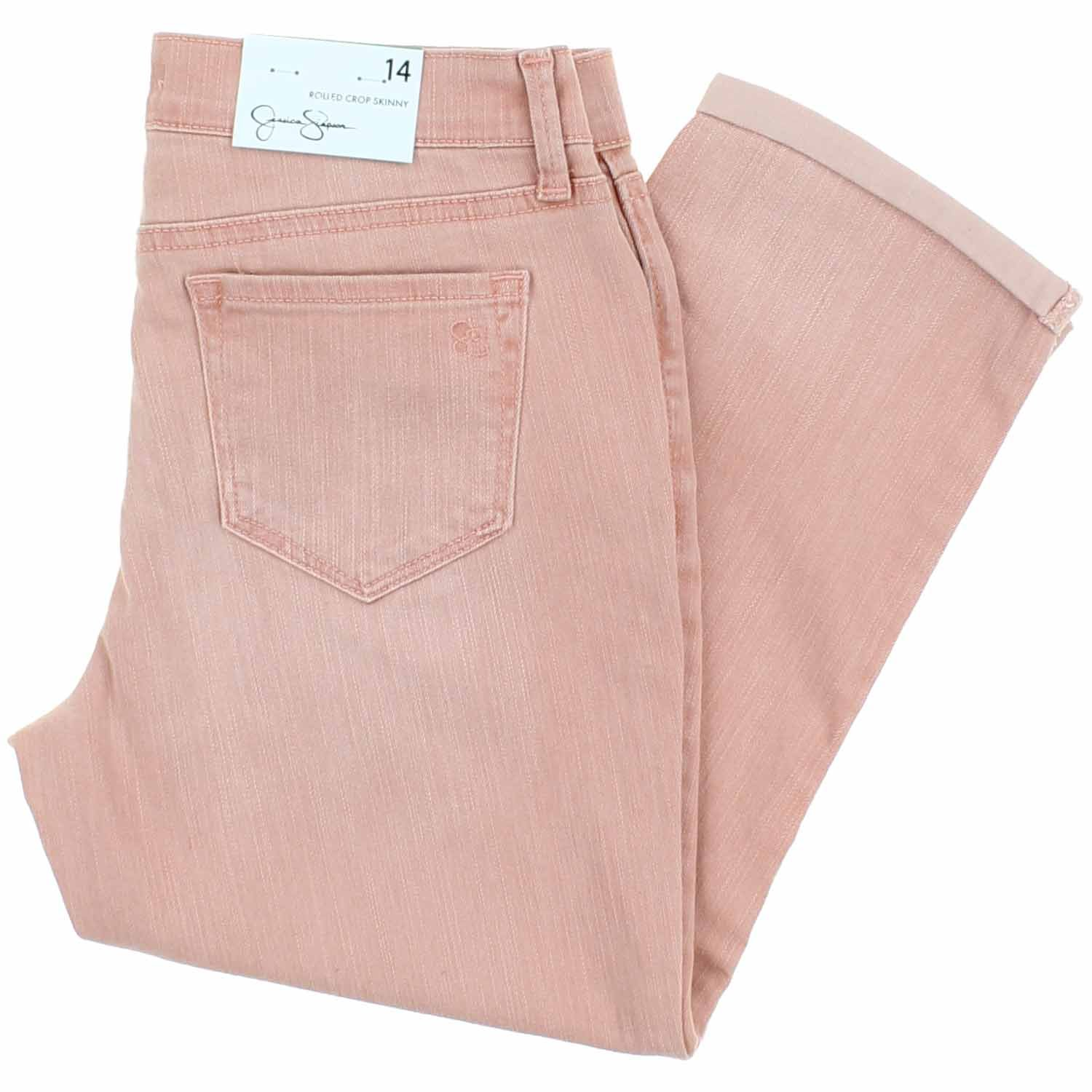 Jessica Simpson Girls Rolled Crop Skinny Jean (14, Canyon Pink/Rocco)