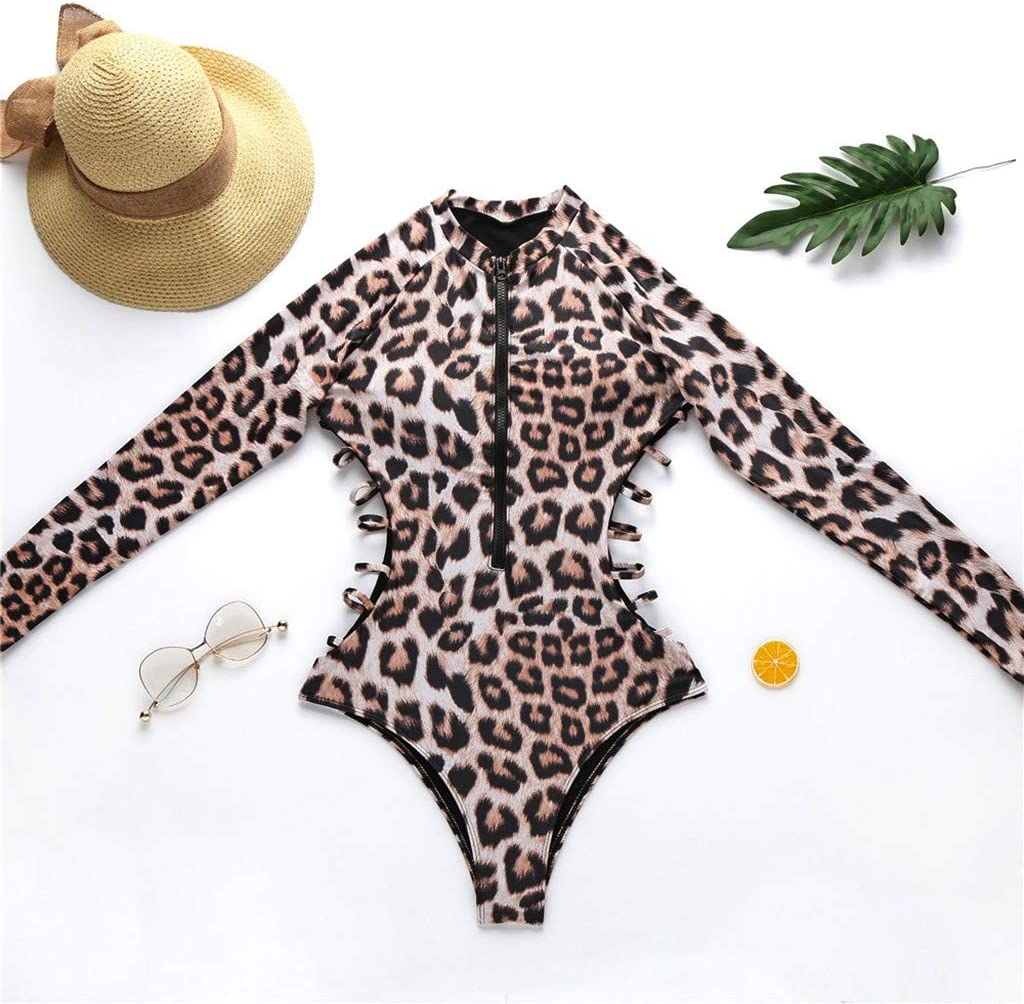 Sun Protection Zipper Surfing Bathing Suit Wetsuit for Swimming Surfing and Snorkeling StyleV Womens Long Sleeve One Piece Swimsuit Leopard Printed Rash Guard UV UPF 50 Diving