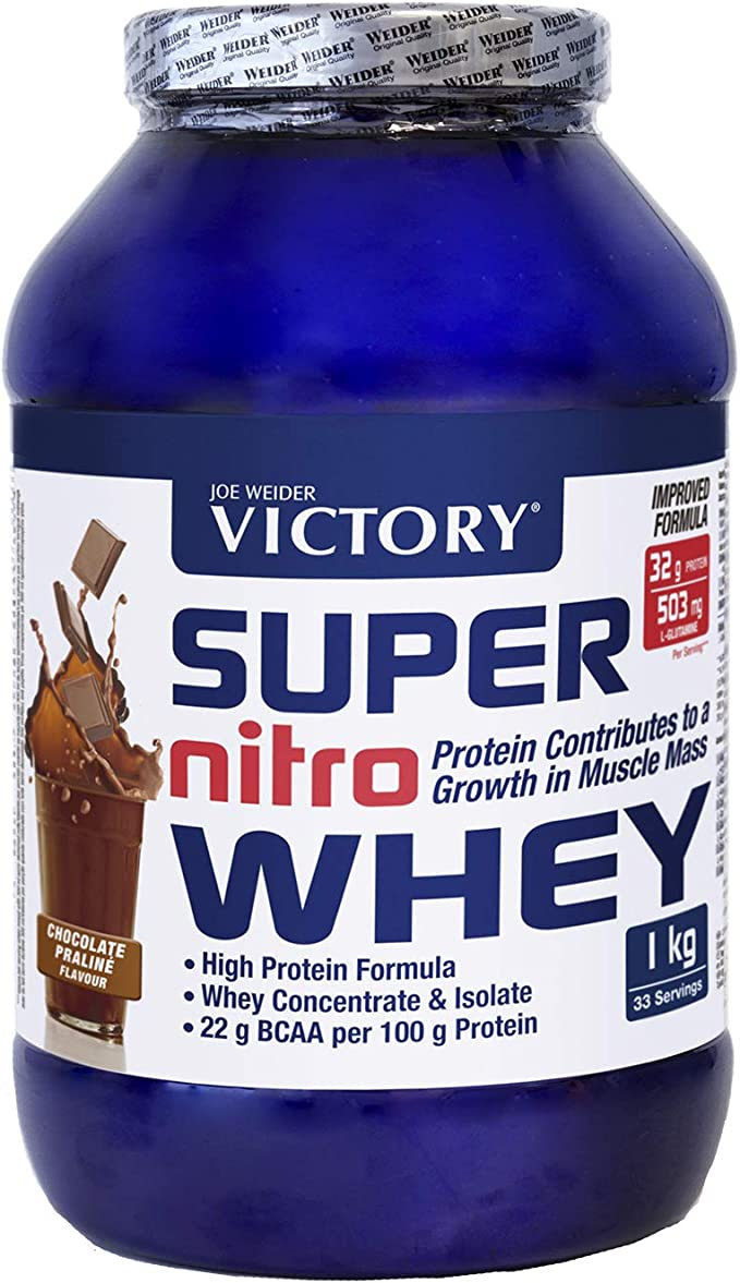 Victory Super Nitro Whey Chocolate-Praliné (1 kg). Concentrado y aislado de suero. fuente proteica rica en BCAAs. Recuperación muscular. Con ...