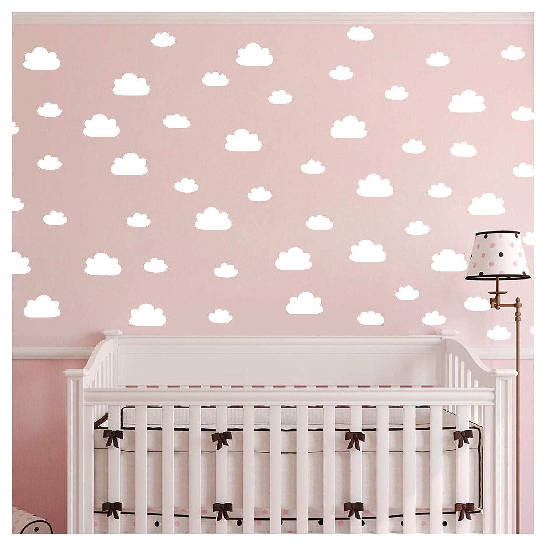56 Pieces/Set Cloud Wall Decal Vinyl Sticker Nursery Kids Child Boys Girls Room Decor Nursery Baby Bedroom Decoration Home Stickers YMX03 (White)