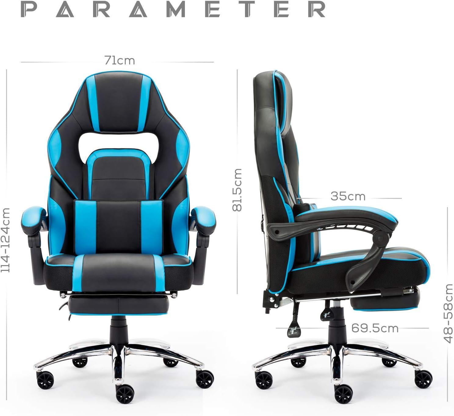 IntimaTe WM Heart Sedia Gaming Sedia di Computer Sedia da Gioco di Pu Sedia ergonomica con Il Cuscino Lombare e poggiapiedi Sedia con Alto Schienale Blu