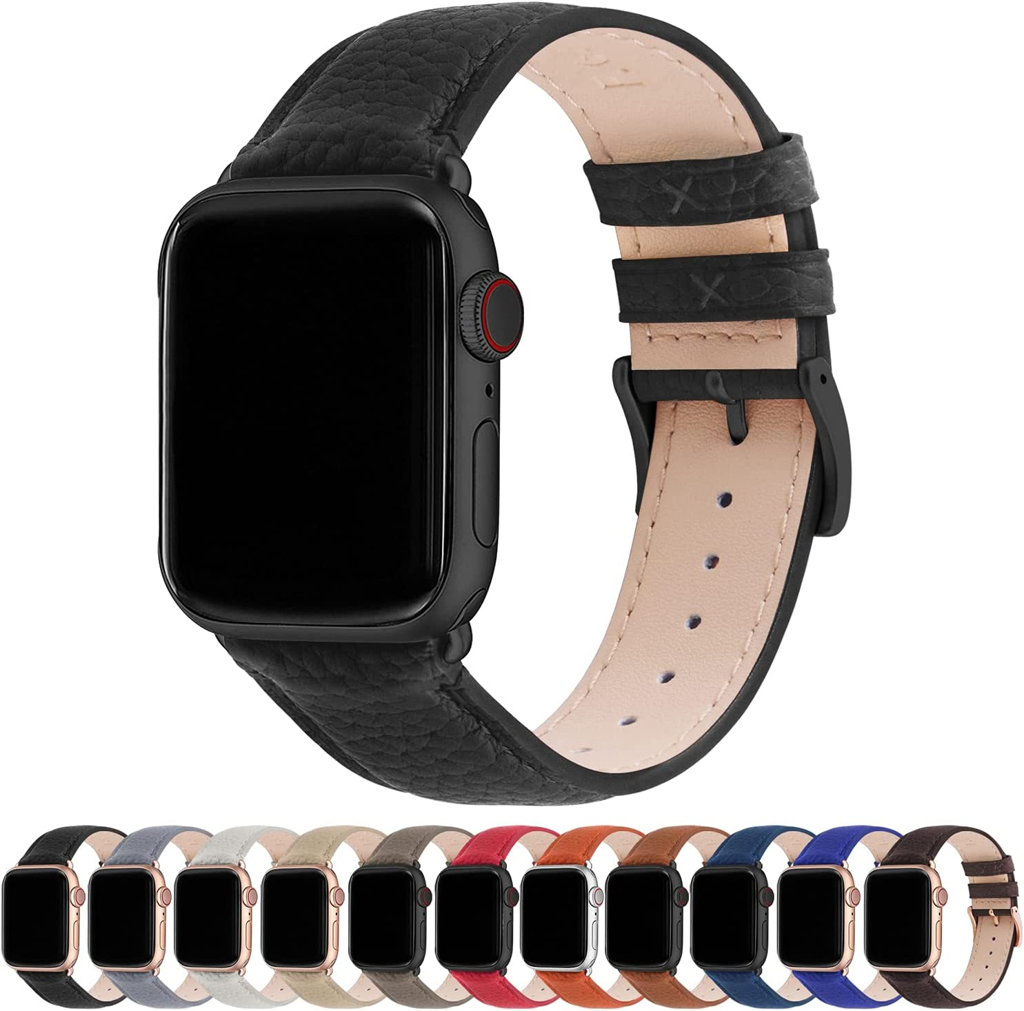Fullmosa Compatible Apple Watch Band 44mm 42mm 40mm 38mm Leather Compatible iWatch Band/Strap Compatible Apple Watch SE & Series 6 5 4 3 2 1, 38mm 40mm, Black + Gunmetal Buckle