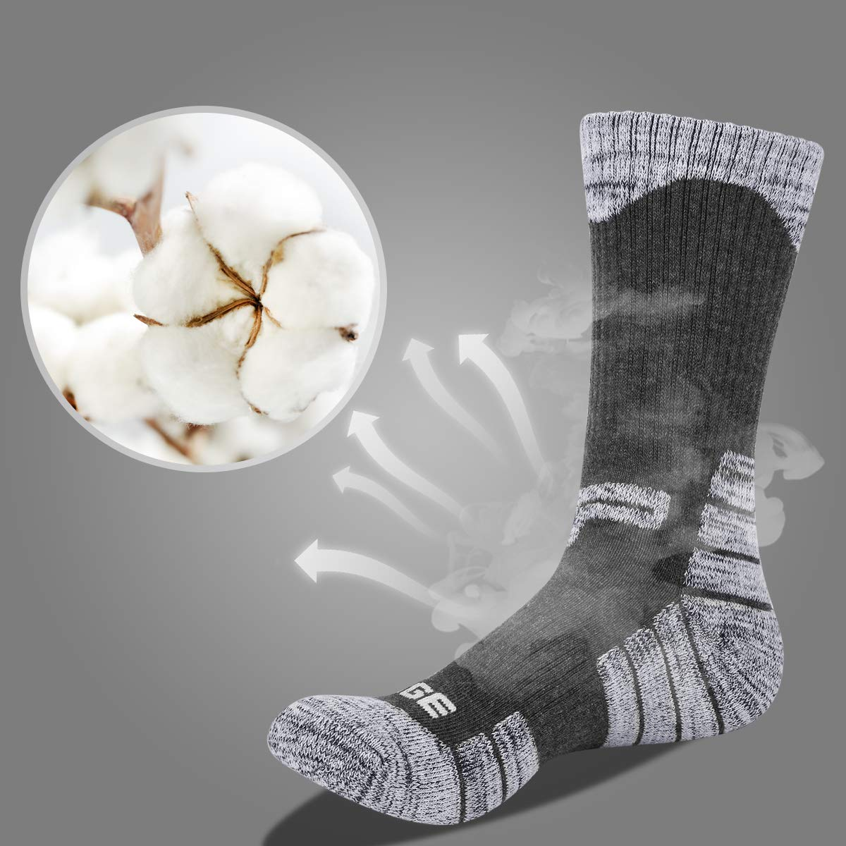 YUEDGE Uomo Calzini da Sentierismo Calze da Trekking Calze Sportive Traspiranti Anti-ampolle ad Alte Prestazioni