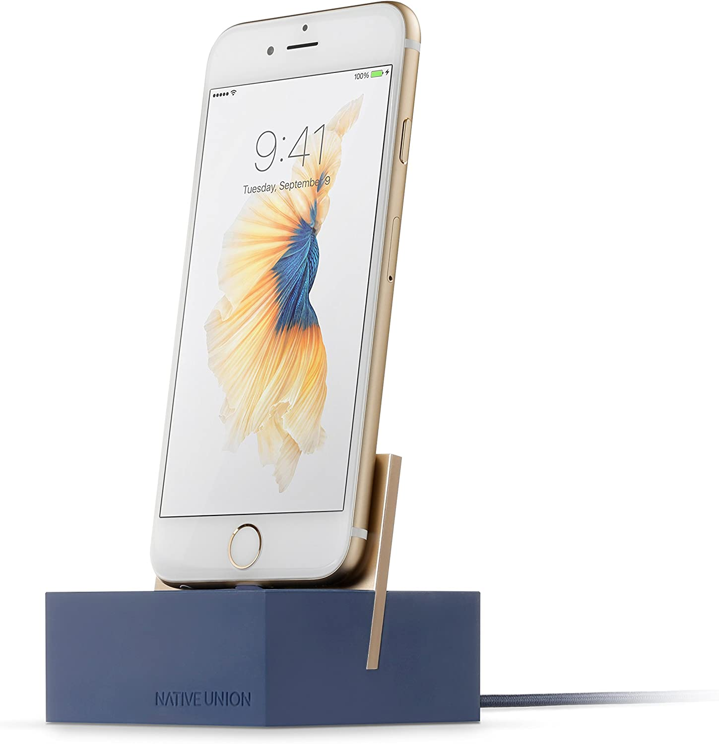 Native Union Dock+ Weighted Charging Dock with [Apple MFi Certified] Reinforced Lightning Cable for iPhone/iPad (Blue)