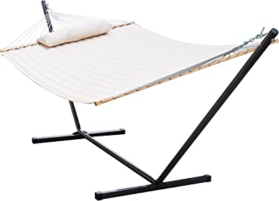Lazy Daze Hammocks 12 Feet Steel Hammock Stand with Quilted Fabric Hammock