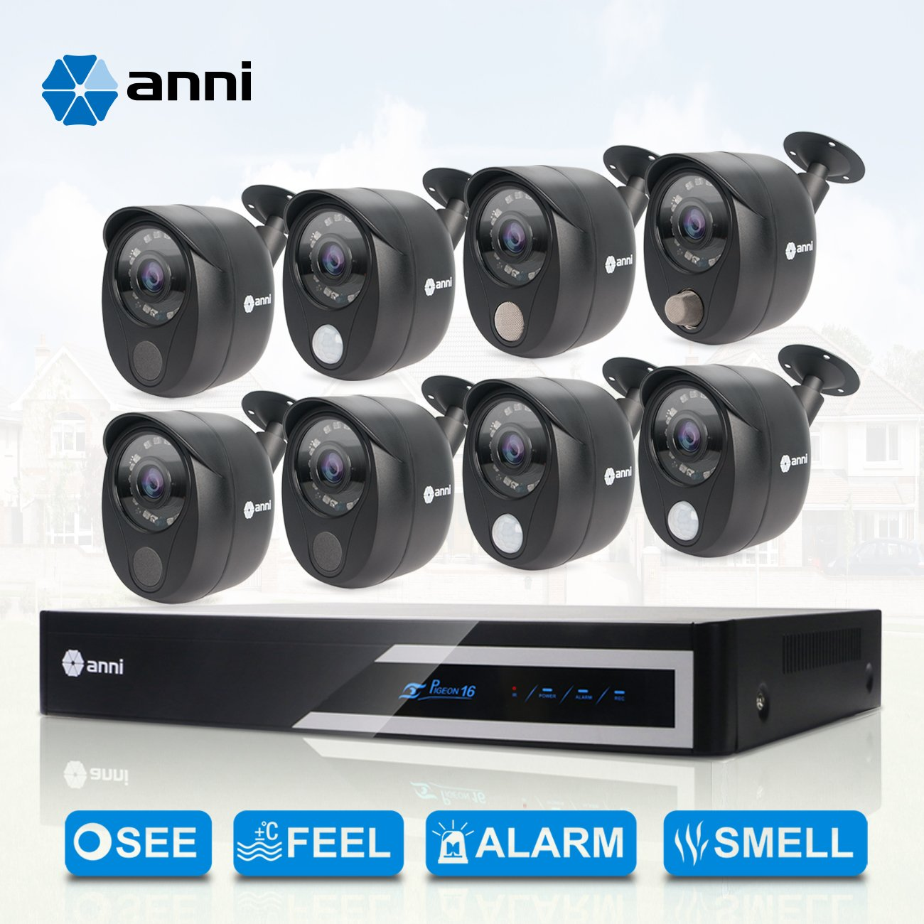 Anni 16 Channel HDMI 1080N CCTV Surveillance DVR kit, and 8 x Wired 1080p Security Cameras with Built-in Gas Detector, PIR Heat-Based Sensor, Siren ...