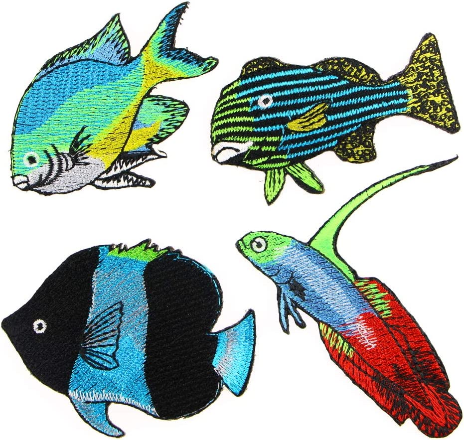 ʕ•́ᴥ•̀ʔっ 4 Patches - Sea Fish Fishing Club Embroidered Iron/Sew On Applique Patch