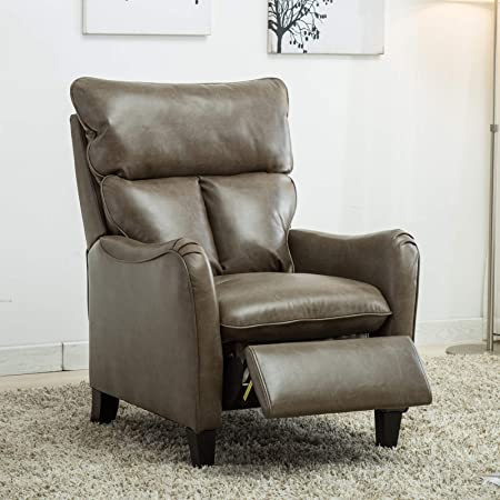 Mecor Leather Recliner Chair,Manual Reclining Pushback recliners Living Room Single Sofa Chair with Solid Wood Legs Taupe