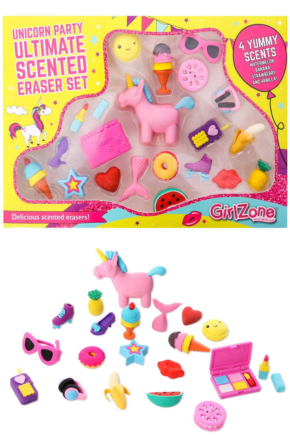 Birthday Gifts for Girls: Unicorn Party Scented Erasers for Kids Set, Cute School Supplies, Arts and Crafts for Kids, Unicorn Gifts for Girls by GirlZone