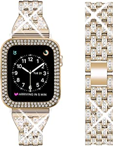 DSYTOM Compatible Apple Watch Band 38mm 40mm 42mm 44mm with Case Women,Rhinestone Metal Jewelry Wristband Strap with Bling PC Protective Case Replacement for iWatch Series 5 4 3 2 1(Champagne Gold)