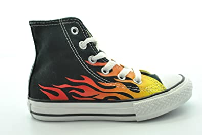 a19a8a68569 CONVERSE - High Shoes KIDS CONVERSE ALL STAR Flames Flames in black fabric  with fire print