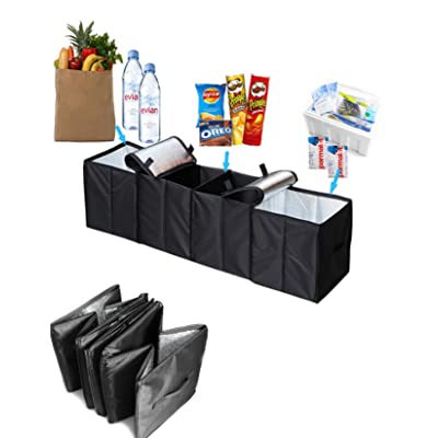 Collapsible Car Trunk Organizer, 4 in 1 Auto Truck Storage Container Foldable Multi 4 Compartments Storage Basket and Cooler & Warmer Set, Black: Automotive