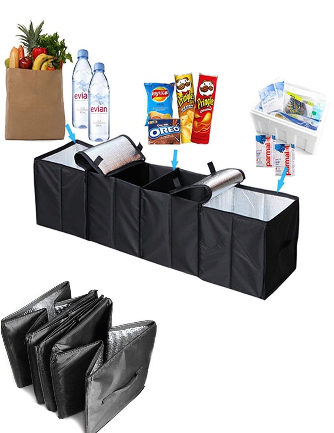 Collapsible Car Trunk Organizer, 4 in 1 Auto Truck Storage Container Foldable Multi 4 Compartments Storage Basket and Cooler & Warmer Set, Black