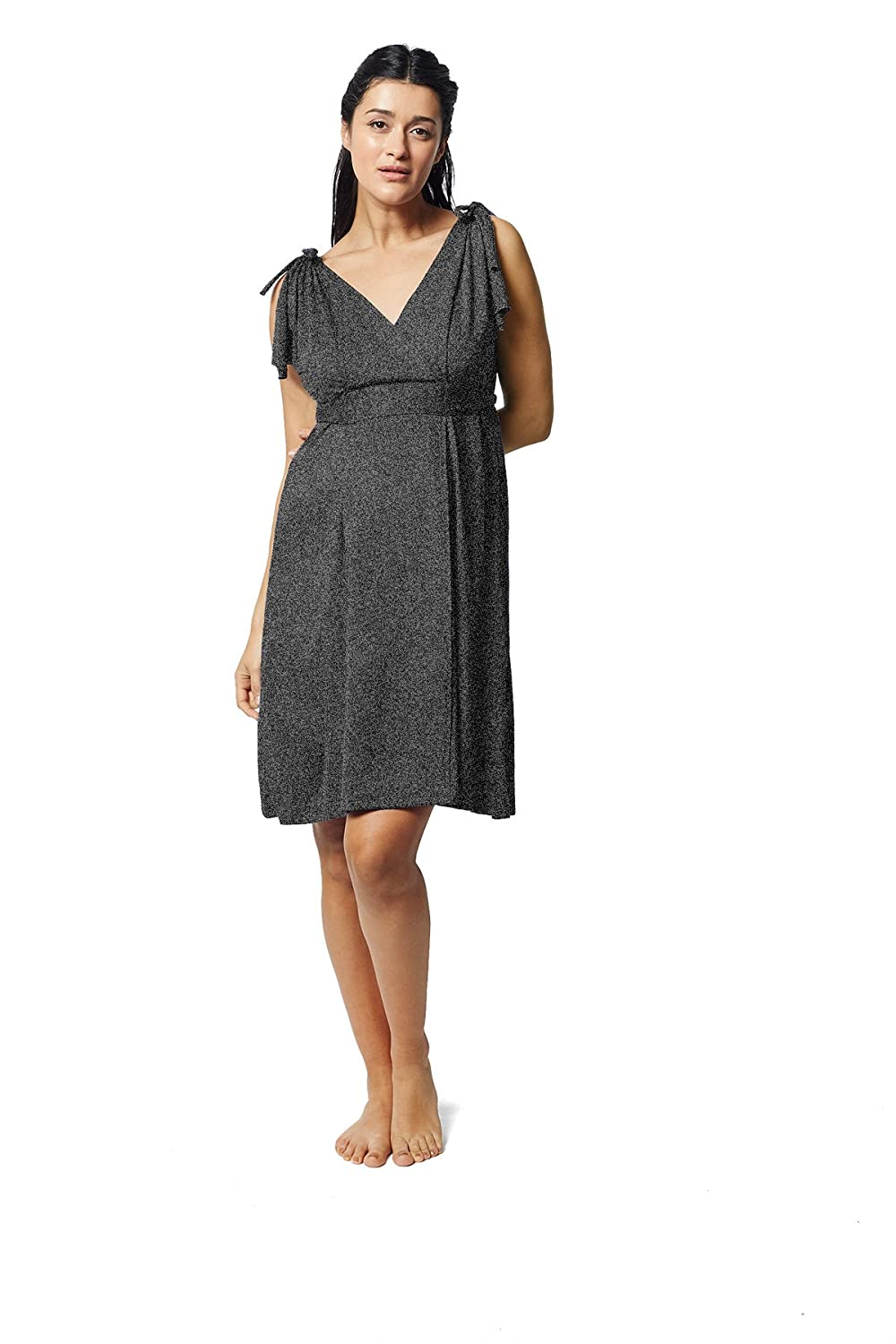 e570119fb2c27 Amazon.com: Pretty Pushers Butterfly Sleeve Maternity/Labor/Nursing Dress  One Size (2-16 pre-Pregnancy) Charcoal Grey: Clothing