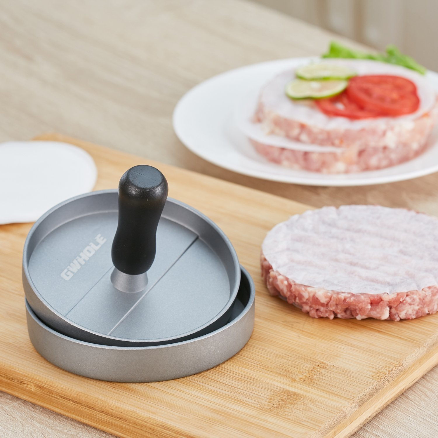 Burger Press Aluminum Hamburger Patty Maker with 100 Wax Papers for BBQ Grill