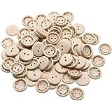 """Demiawaking, 100 x bottoni in legno """"handmade with love"""" per scrapbooking e cucito, 2 CM"""