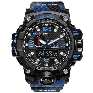DSADDSD # Reloj Digital Impermeable para Hombre Deportes Reloj de Camuflaje Deportes Dual Display Impermeable Relojes de Hombres Relojes multifuncionales ...