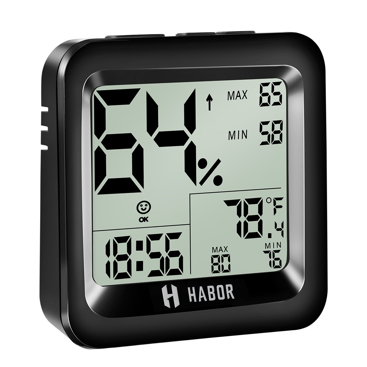 Habor Digital Thermo-hygrometer with Time Display, 2 Years Warranty, Monitor Temperature and Humidity for Comfort of Home/ Office/ Babyroom/ Car, Min/Max Records - Black 1