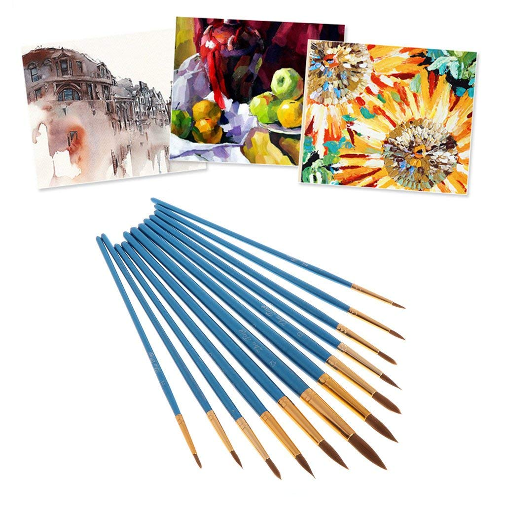 Purple YXQSED-12 Pieces Paint Brush Set Quality Artist Paint Brushes Artist Brushes for Acrylic Oil Watercolor Gouache Face Painting