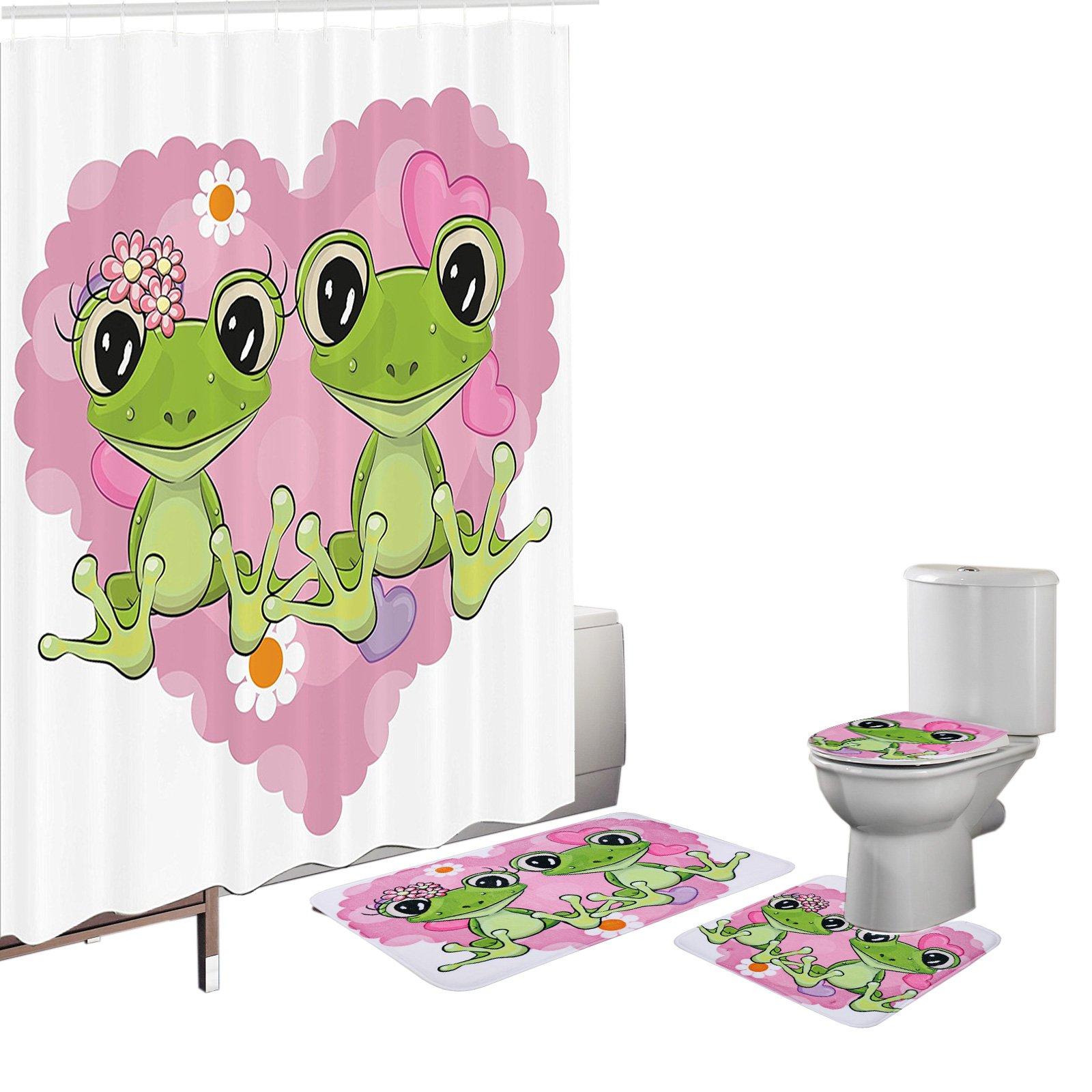 Amagical 16 Pieces Shower Curtain Set Bath Mat Set Contour Mat Toilet Cover Cute Frog Animal Lovers Shower Curtain with 12 hooks