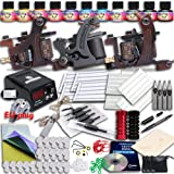 Professional Great tattoo Starter Tattoo Kit 2 Machines 4 Color Inks Top CE Power Supply dunhuang-1 ADE
