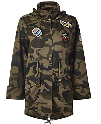 3a8c5f50c1b5e Kedera Women's Plus Size Military Camo Patchwork Drawstring Waist Hooded  Utility Jacket (Small)