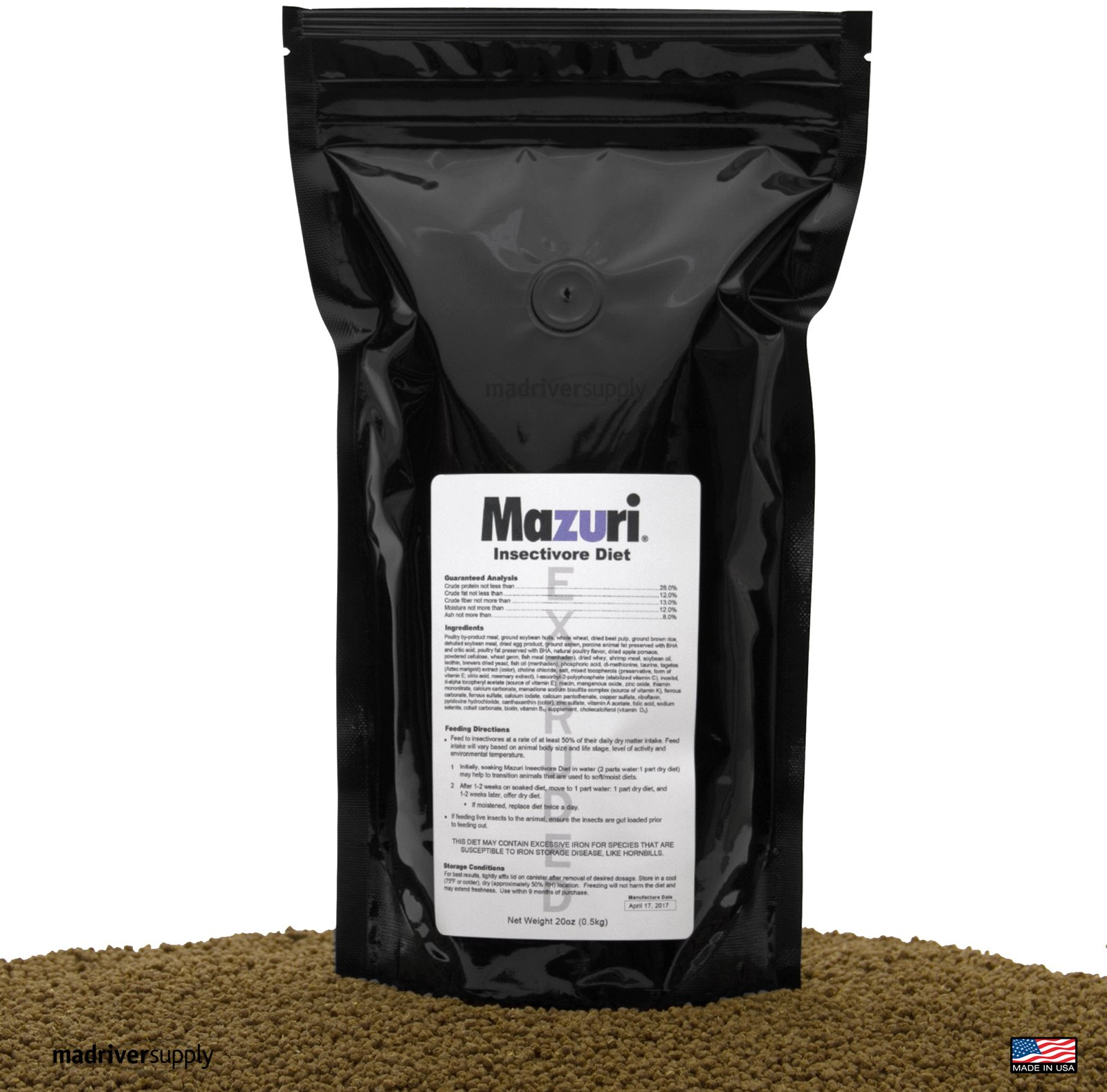 Mazuri Insectivore Diet, Designed For A Range Of Insect-Eating Mammals, Birds, Reptiles And Amphibians (Shrews, Hedgehogs, Sugar Gliders, Anteaters, Swifts, Swallows, Bearded Dragons & More, 20oz(0.5kg) by Mazuri