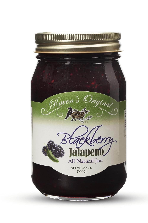 Raven's Original Hot Pepper All Natural Jam - 20 Ounce Jar (Blackberry Jalapeno)