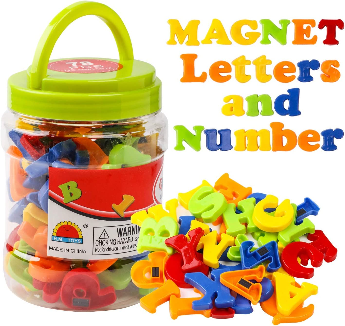 JCREN Magnetic Alphabet Magnets Letters and Numbers Toy ABC 123 Fridge Plastic Toy Set Educational Magnetic in Bucket Preschool Learning Spelling Counting Uppercase Lowercase Math Symbols for Toddler: Furniture & Decor