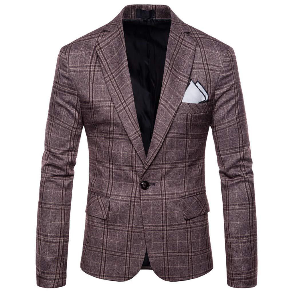 Men's Blazer Jacket Slim Fit Casual Single One Button Premium Lightweight Blazer Coat with Pocket for Business Weddings Prom Party Dinner Tuxedo M-4XL by VEZARON