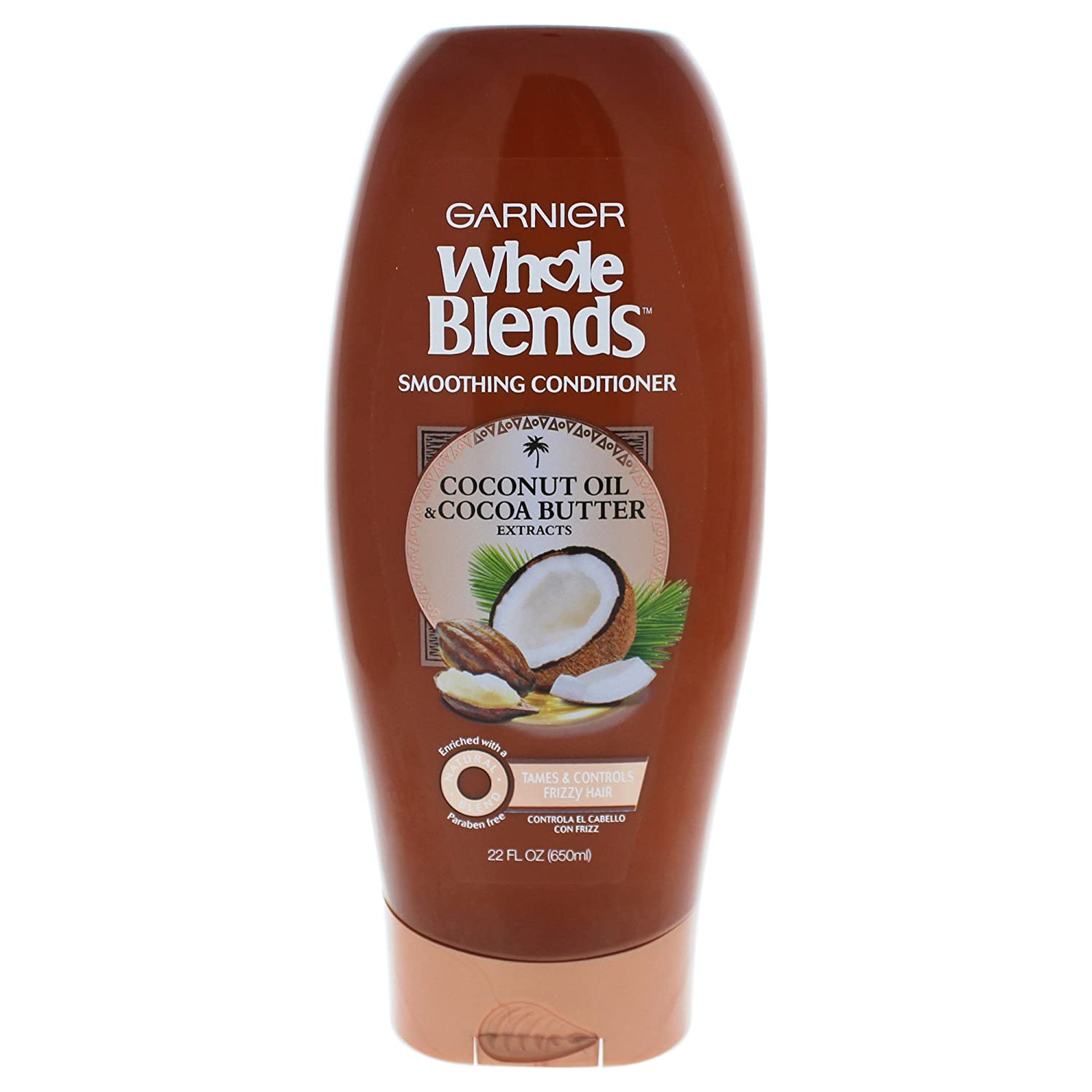 Garnier Whole Blends Coconut Oil and Cocoa Butter Smoothing Conditioner. Fix Frizzes and Fly-Aways, Paraben-Free, 650 ml