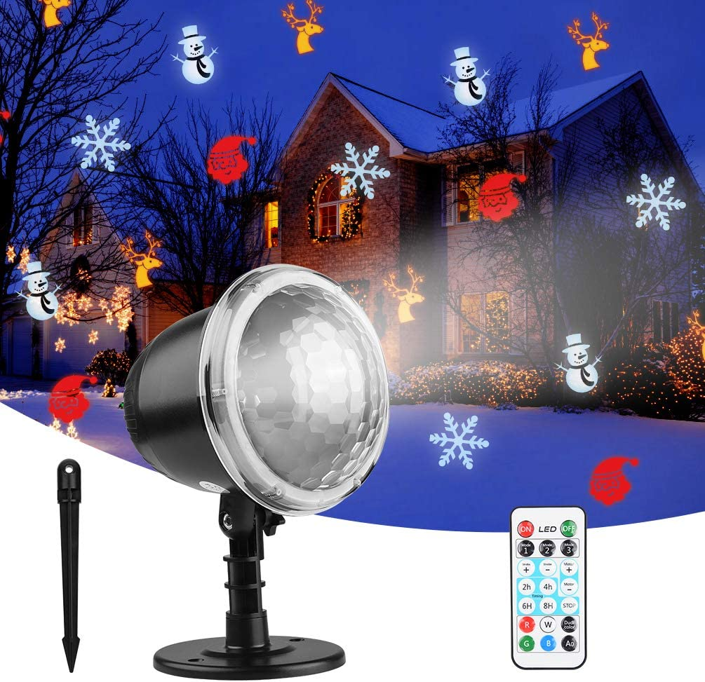 Christmas Lights Projector,OUTUL Indoor Outdoor Waterproof LED Snowfall Projector Lamp Dynamic Snow Effect Spotlight for Garden Ballroom,Party,Christmas,Holiday Landscape Decorative(Waterproof Remote)