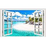 Fake Windows Wall Sticker Removable 3D Beach Seascape Faux Windows Wall Sticker Vinyl Self-Adhesive Beach Landscape Palm…