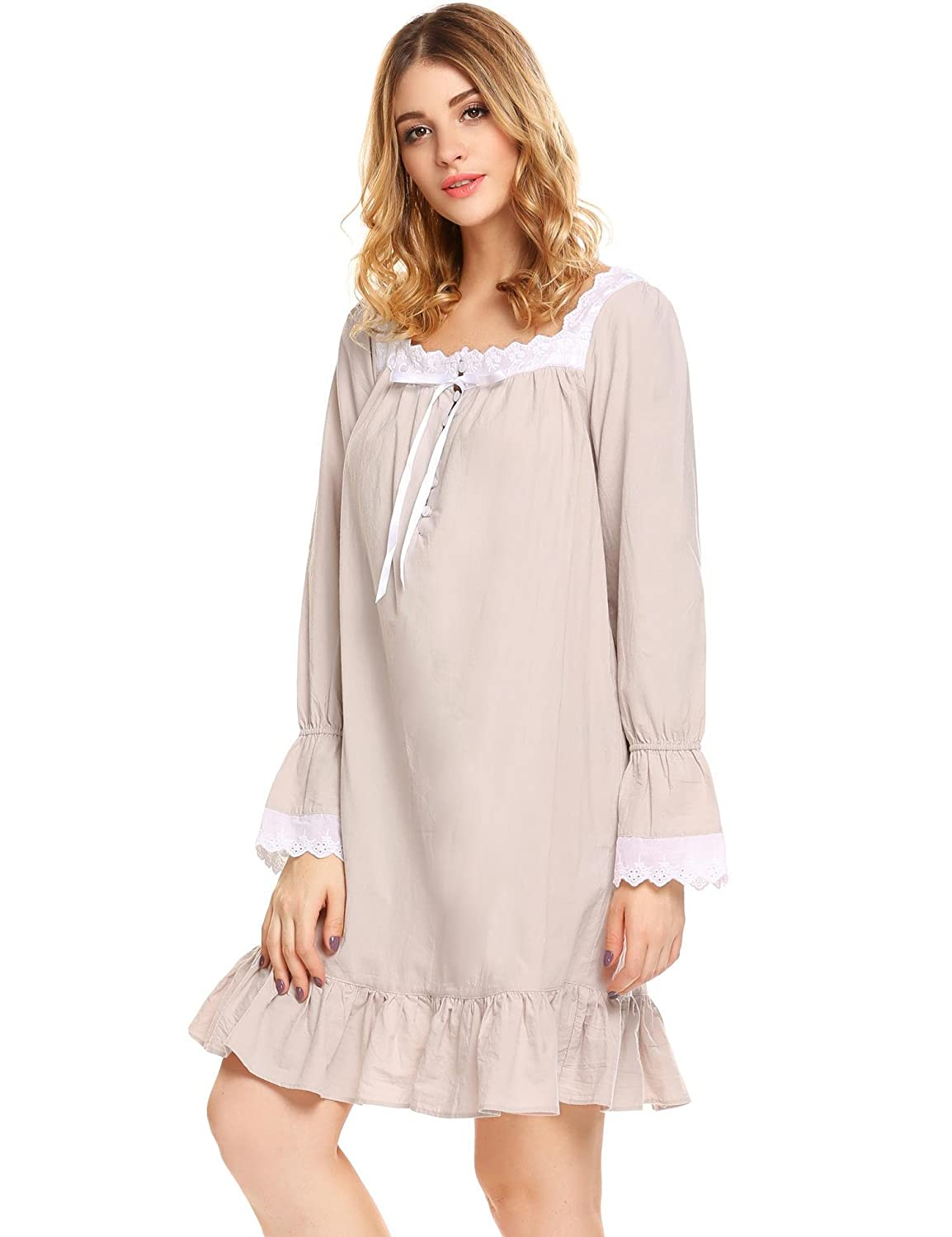 0bd1fab346 L amore Womens Victorian Cotton Long Sleeve Short Long Lingerie Dress  Nightgown Shift Pure Color Nightwear at Amazon Women s Clothing store