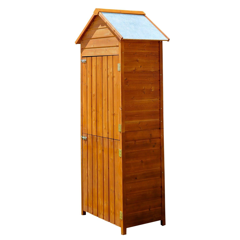 Homcom Armoire de jardin remise pour outils 79L x 49l x 190H cm 2 portes 2 étagères toit bitumé étanche bois pin pré-huilé 01-0053