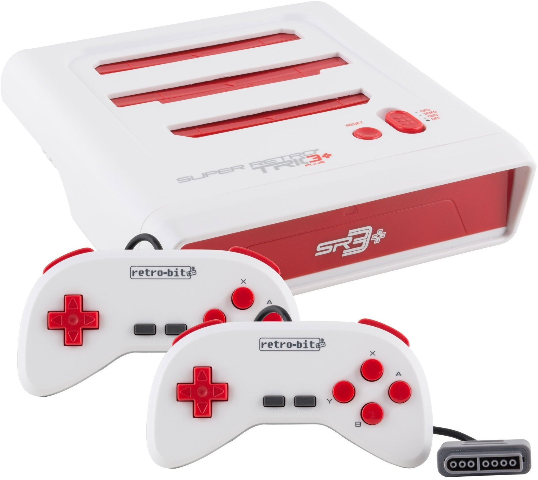 Retro-Bit Super Retro Trio HD Plus 720P 3 in 1 Console System (2019) Bundle with 1-Year Warranty from Geek Theory - for NES, SNES, and Sega Genesis Original Game Cartridges - Red/White by Geek Theory (Image #2)