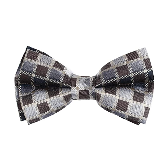 New Men/'s Polyester plaid checkers self-tied  Bow Tie /& hankie set red formal