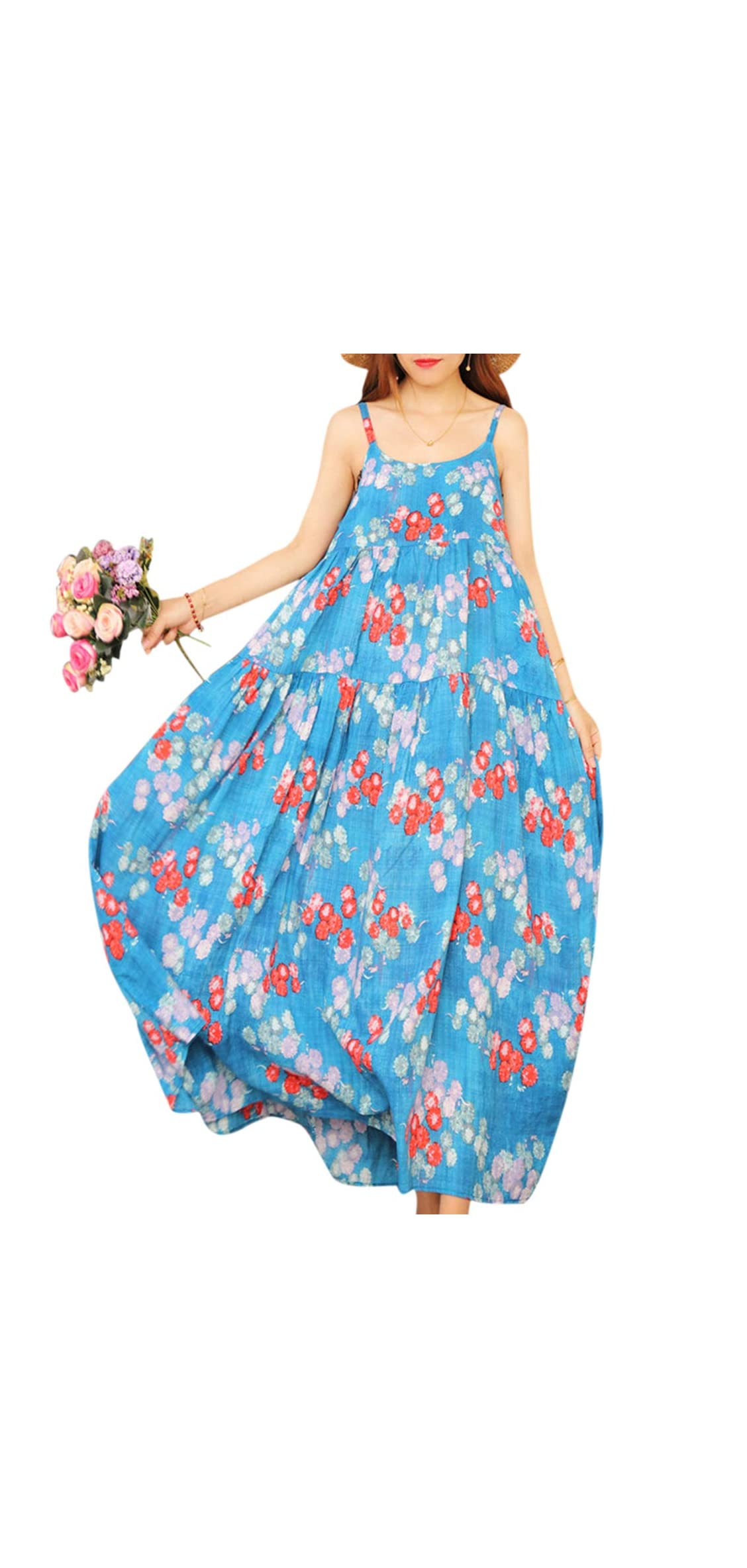 Women Casual Loose Bohemian Floral Print Empire Waist Long