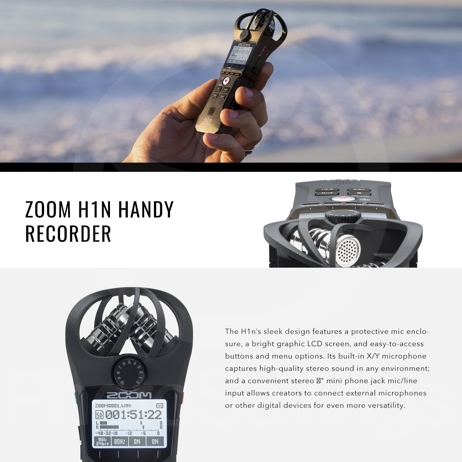 Zoom H1n Handy Recorder with Lavalier Mic Accessory Pack by Photo Savings (Image #3)