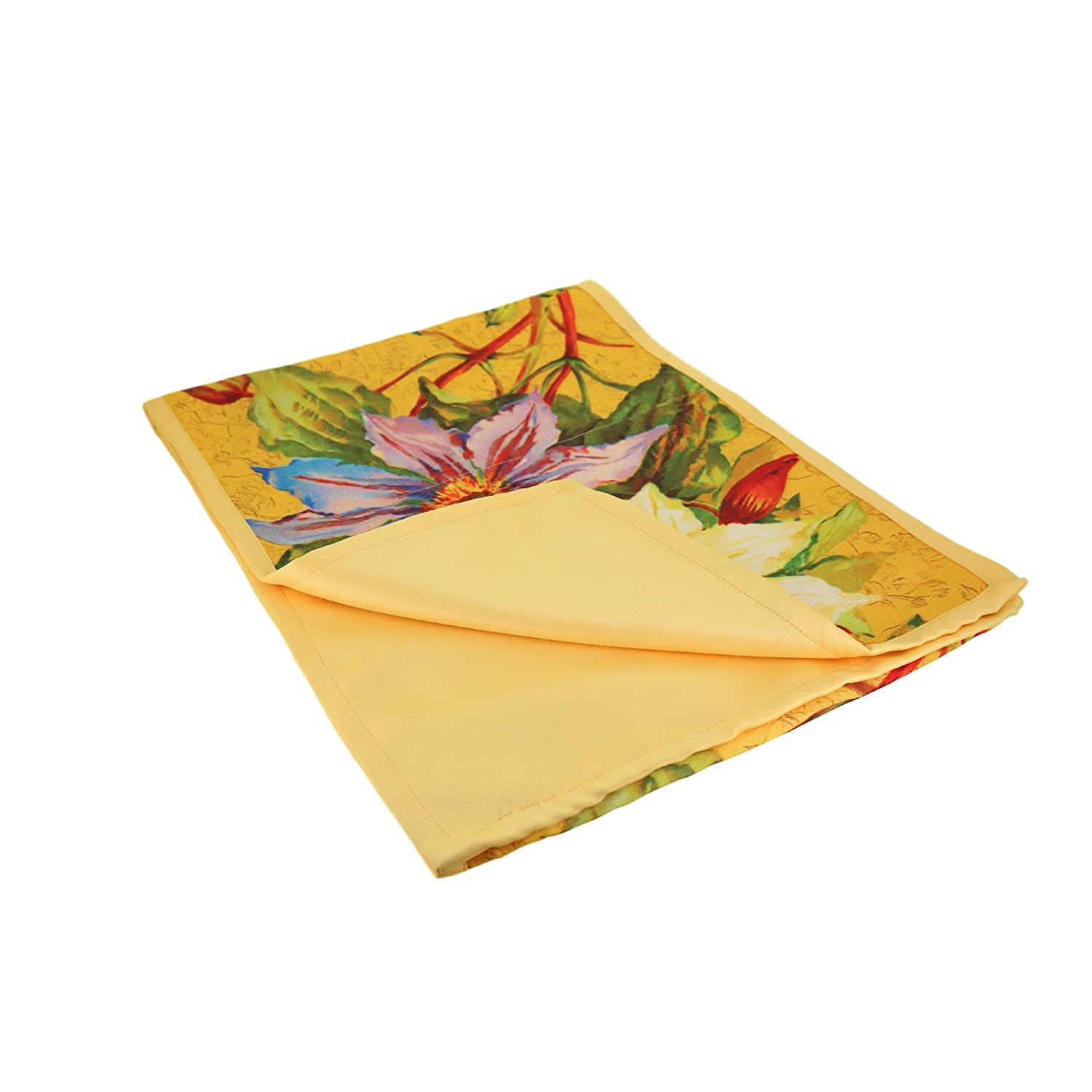 13 inches by 72 inches Great for The Holidays ShalinCraft MN-RND01-37 ShalinIndia Digitally Printed Yellow Floral Autumn Leaves Kitchen Dining Table Runner Faux Silk Polyester Reversible