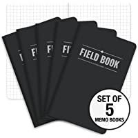 "Field Notebook - 3.5""x5.5"" - Black - Graph Memo Book - Pack of 5"