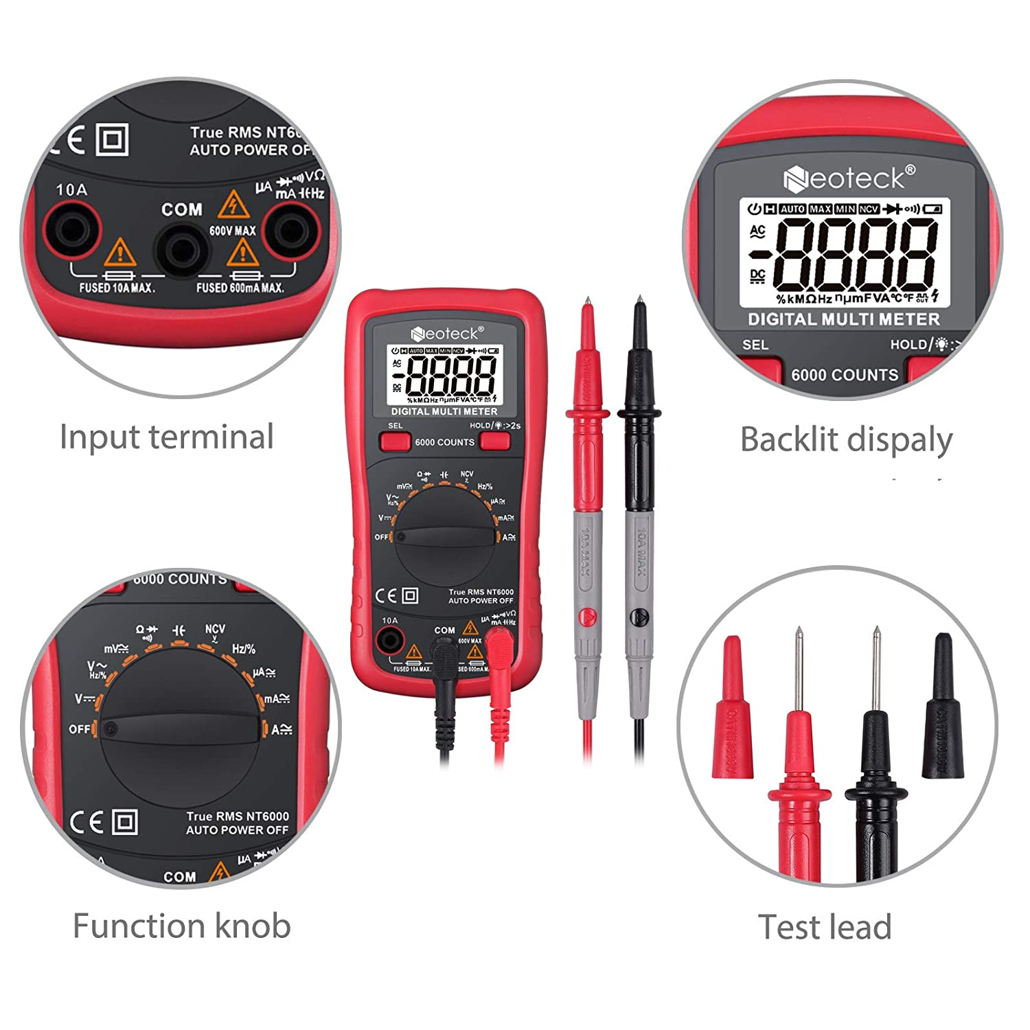Neoteck 6000 Counts TRMS Auto Ranging Digital Meter Tester with NCV AC//DC Voltage Current Resistance Capacitance Continuity Frequency for Laboratory Factory and Other Social Fields Green