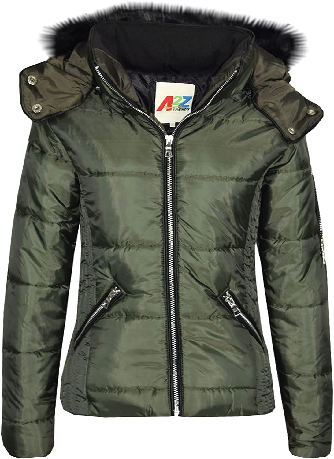 Girls Jacket Kids Quilted Padded Puffer Bubble Faux Fur Collar Warm Thick Coats