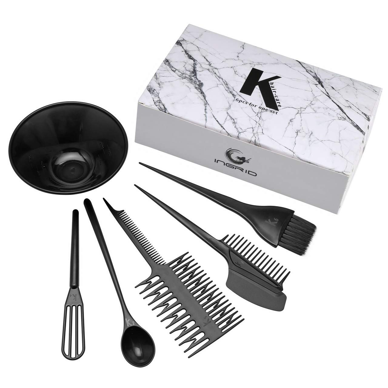 FALETO Hair Dye Set Kit Professional Hairdressing Brush Comb Bowl Hair Color Dye Tint DIY Tool Set Kit(Set of 6) by FALETO