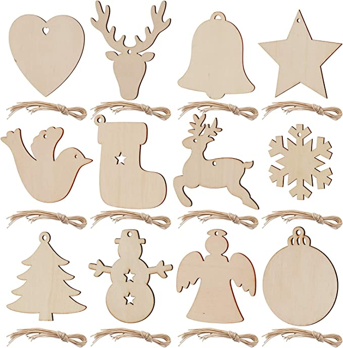 Vintage wooden Christmas tree decorations Star or flower shape 12 pieces unused original box Planed wood natural light and dark colours